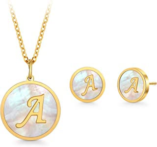 PAPAGENA Initial Necklaces Stud Earrings Set for Women Girls Round Disc Alphabet Pendant Necklaces Gold Plated Fashion Jew...