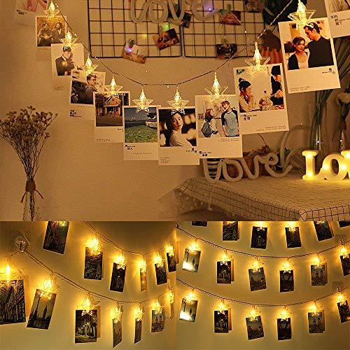 JuguHoovi Clip Cadena de Luces LED,30LEDs 5m Fotoclips Guirnalda de Luces para Decoración de Fotos