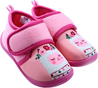 Black and White Toddler Girl's Llama Daycare Slippers