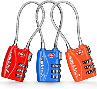 3PCS Backpack Lock, Suitcase Locks TSA Approved, Easy to Set Password, Travel Combination Cable Lock for Luggage (Red & Bl...