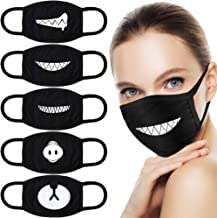 HNYYZL 5 Pack Teeth Pattern Cute Unisex Cotton Blend Anti Dust Face Mouth Mask Black for Man Woman