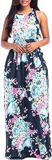 Perman Womens Dress, Summer Sleeveless Floor-Length Loose Plus Size Maxi Casual Beach Dress