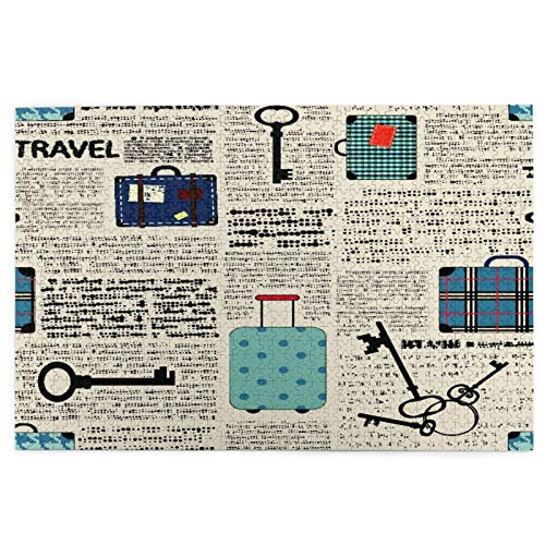 Judascepeda Jigsaw Puzzles 1000 Pieces,Retro Style Travel Vacation Theme Vintage Suitcases Keys Dot Text,Large Family Puzzle Game Artwork for Adults Teens