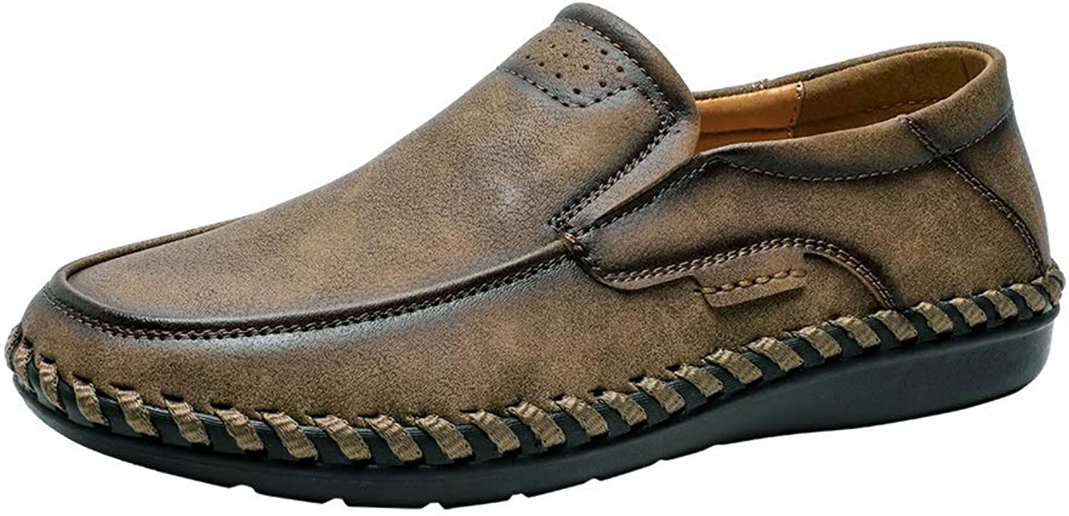 Easy Go Shopping Leisure Driving Loafers for Men Round Toe Oxfords Casual Flat shoes Microfiber Upper Slip On Stitch Walking Boat shoes Lightweight Cricket shoes (color   Khaki, Size   8.5 UK)