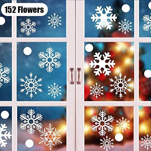 KIPIDA Schneeflocken Fensterdeko, 152 Weihnachten Schneeflocke Fensterdeko Elektrostatische Abnehmbare PVC Aufkleber Glasaufkleber Schneeflocken, Winter Schaufenster Schneeflocken Aufkleber 4 Blatt