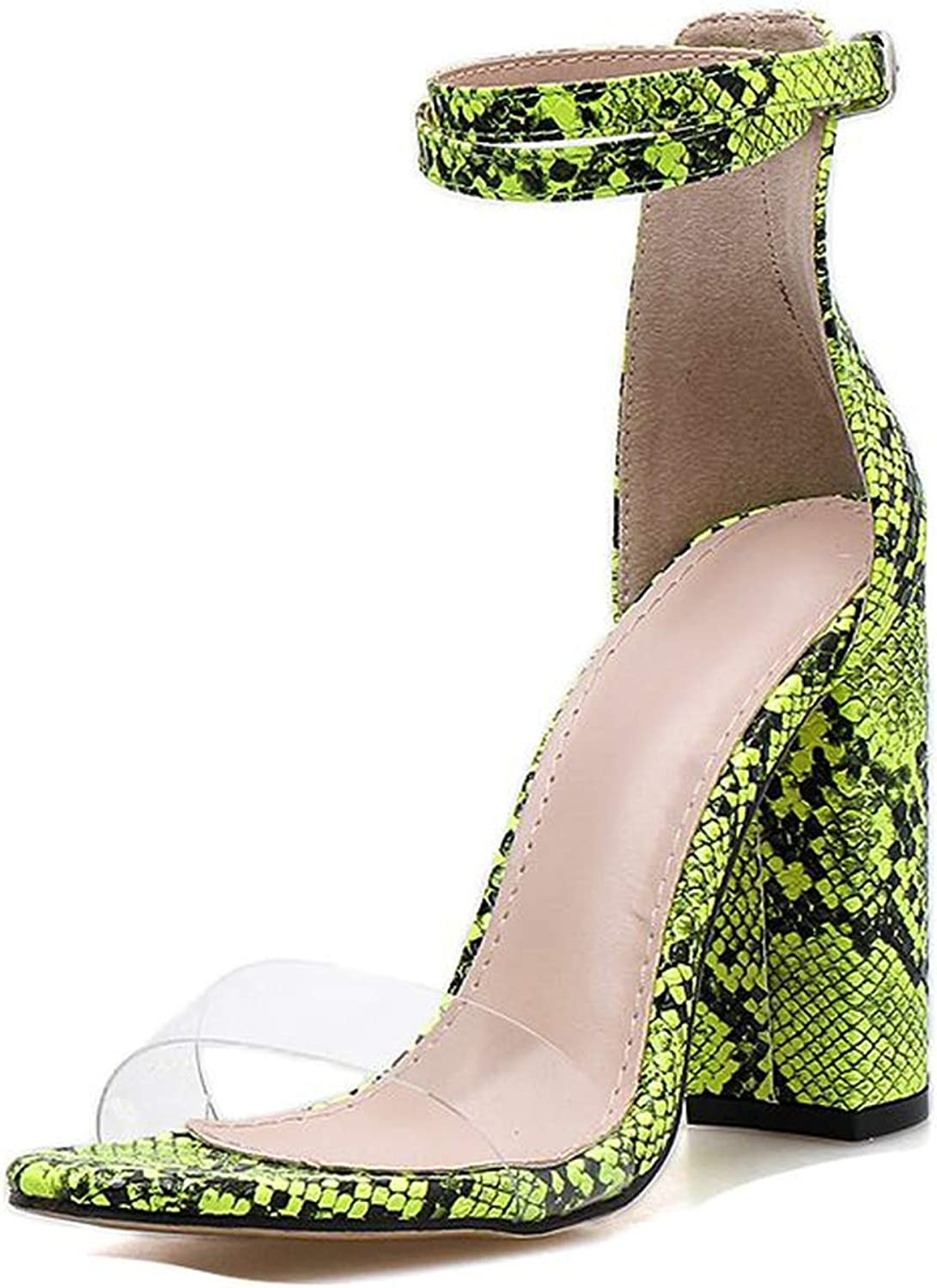 PU Sandals Women shoes Buckle Open-Toe Serpentine Square High Heels,Fluorescent Green,6