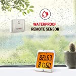 Thermopro tp63b waterproof indoor outdoor thermometer digital wireless hygrometer humidity gauge temperature monitor… 11 accurate reading: wireless temperature and humidity monitor provides accurate humidity and temperature readings for both inside and outside simultaneously, accuracy within ±2 fahrenheit and ±2~3%rh; fahrenheit or celsius selector cold-resistant & waterproof: weather thermometer hygrometer with completely sealed remote sensor contains rechargeable lithium battery technology to monitor humidity and temperature as low as -31 fahrenheit/-35 celsius, assuring transmission in rain or snow 500feet remote range: indoor/outdoor thermometer wireless measures indoor outdoor temperature and humidity percentages from 500feet/150meter away; synchronize up to 3 outdoor remote sensors, track environmental conditions in up to 4 locations with additional remote sensors; search b08m8ylnns to purchase additional sensors