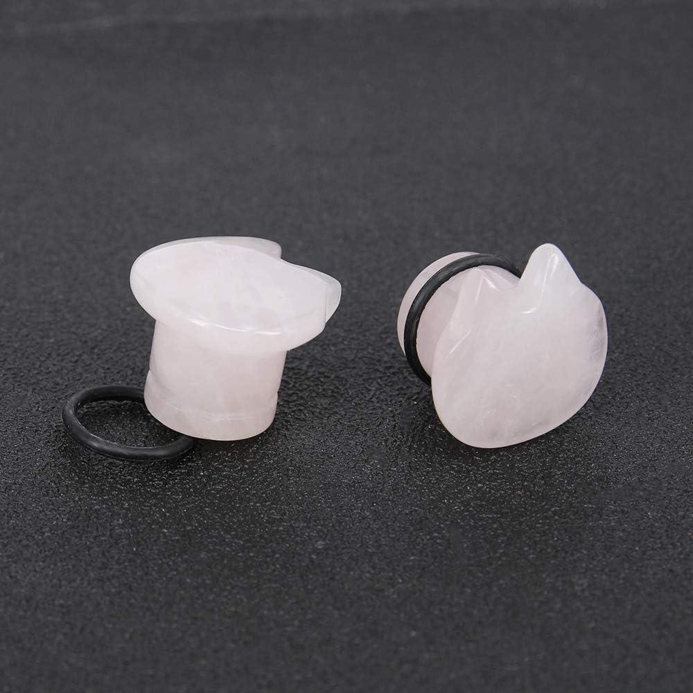 Cute Cat Natural Organic Stone Ear Plug Single Flare Ear Tunnel Gauge Stretcher Ear Expander Piercing 2g-5//8