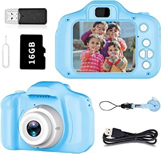 Pussan Toy for 4-8 Year Old Boys Kids Camera HD 1080P Digital Camera for Kids Video Recorder Small Cameras with Silicone Soft Cover Camcorder Christmas Birthday Gifts for Children Party Outdoor Play