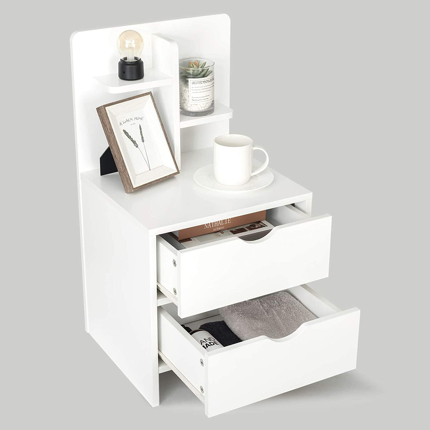 YUSING Nightstand Bedside 大好評です End Table Storage 2 Drawers 送料無料 一部地域を除く with She