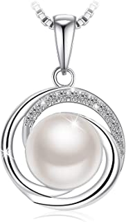 Swarovski Elements 925 Sterling Silver Pearl Pendant Necklace for Female Women Ladies Girls Gift Jewelry JR692