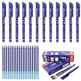 Laconile penne cancellabili con punta a pennino da 0,5 mm, 12 pezzi penne con blu confezione da 20 ricariche per penne in gel, scrittura scorrevole, cancelleria per la scuola