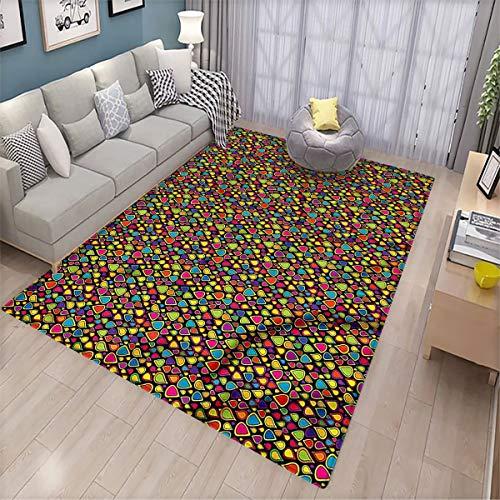 Sixties Non-Slip Door mat Colorful Teardrop Shape Patio Door Floor mat Non-Slip Decoration