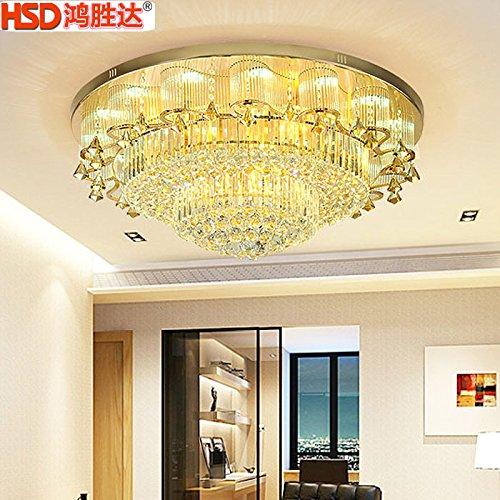 lemumu Round di luce a soffitto lussuoso Golden Circle lampada da soffitto LED luce di cristallo continental camera da letto soggiorno con luce ristorante,diametro 1200cm+ controllo remoto
