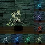 RUMOCOVO® Hockey Sur Glace Lecteur 3D LED Lumière de Nuit Montréal 7 Couleur Tactile Lampe de Table Pour Enfants Noël Cadeaux Anniversaire Cadeau Lampe De Chevet
