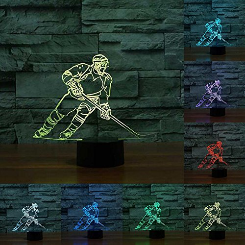 Leselampe Montréal im Eishockey-Design, 3D-LED-Lampe, Farbwechsel, Touch-Bedienung, Acryl, Nachtlicht für Kinder