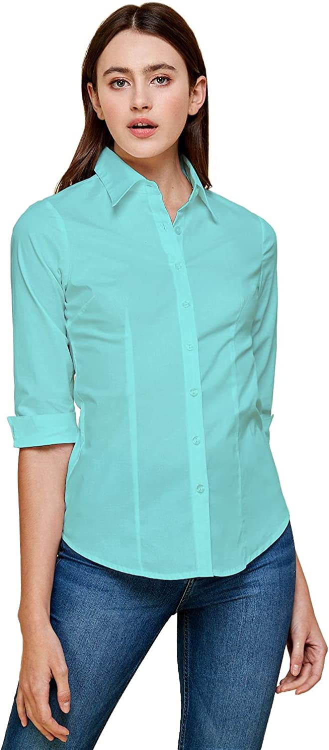 ICONICC Womens Tailored Short Sleeve 3/4 Button Down Shirt Slim Fit S to 6XL