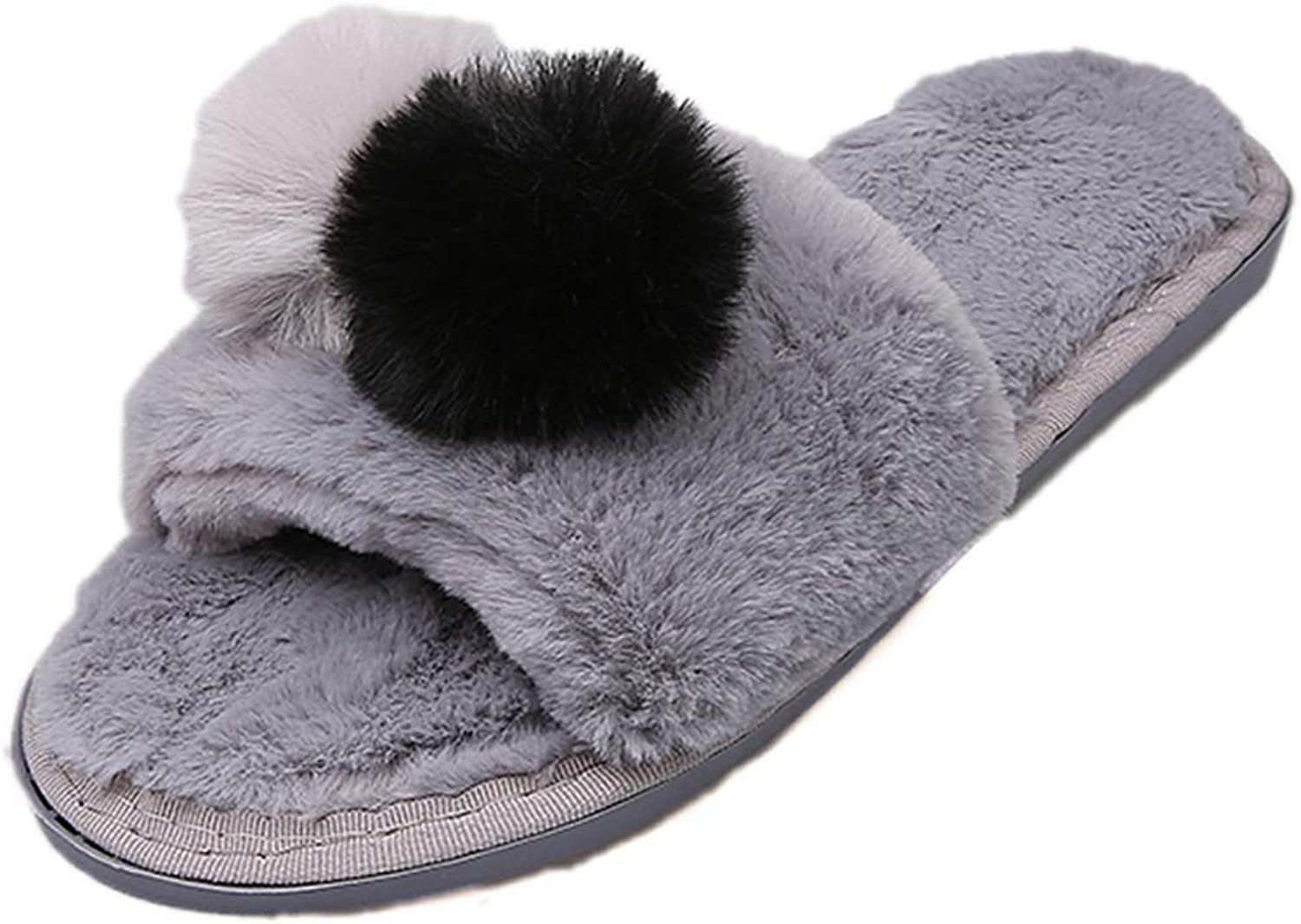 Nafanio Winter Slippers Women Flats shoes Soft Fur Thicken Home Plush Flip Flops Faux Fur Slides