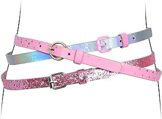 Belts for Big Girls 3 Pack Teen Kids Belt Girls Fashion PU Leather Heart Shiny Glitter Patent Belt Pink Gold Buckle Red White Laser Medium