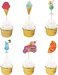 Set of 12 WallyE Summer Party Cupcake Topper Sticks,Ice Cream and Cool Drinks Toppers Cake Decorations