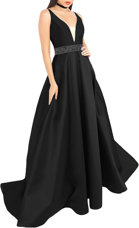 Liaoye Women's V Neck Satin Prom Dresses A line Crystals Evening Dress Formal