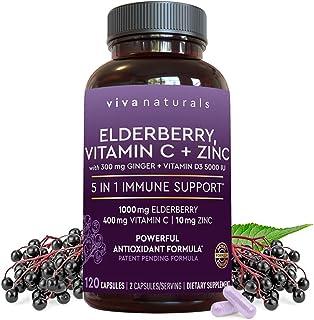 Viva Naturals Elderberry, Vitamin C, Zinc, Vitamin D 5000 IU & Ginger - Antioxidant & Immune...