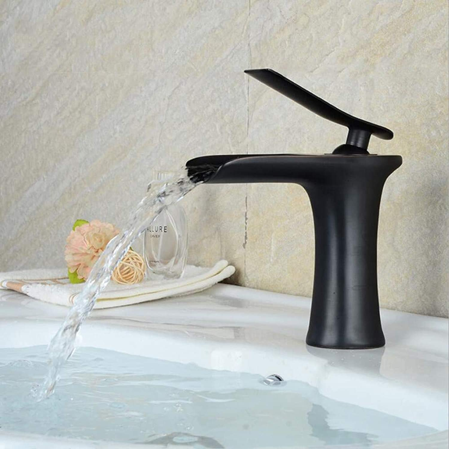 Ddl Wasserfall Faucet Bathroom Vanity Wash Basin Hot and Cold Faucet, Electroplated Tile Sink Hot and Cold Faucet,schwarz