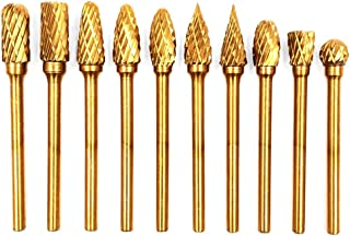 Cutting Dia,3mmShank Dia,Tungsten Carbide Rotary Burr Set Taper Points Head Fit Dremel Engraving Bits Burrs Grinding Engraving Tools for DIY Woodworking Plastics TYPE M 6mm Wokesi 10Pcs 1//4