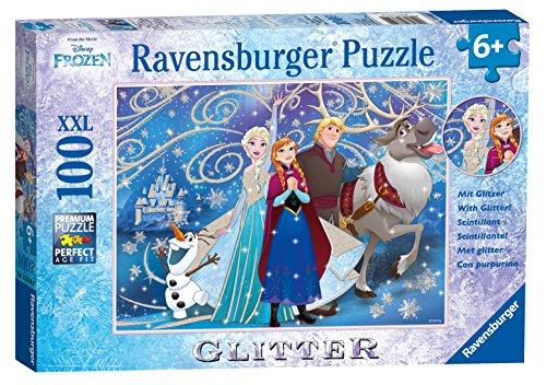 Ravensburger Kinderpuzzle 13610 - Disney Frozen Glitzernder Schnee 100 Teile XXL - Puzzle für Kinder ab 6 Jahren - mit Glitzer