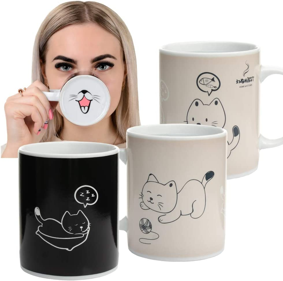 InGwest. Heat Sensitive Color Changing Coffee Mug with Funny Cat. Very Cute Magic Mug with Tongue on bottom.