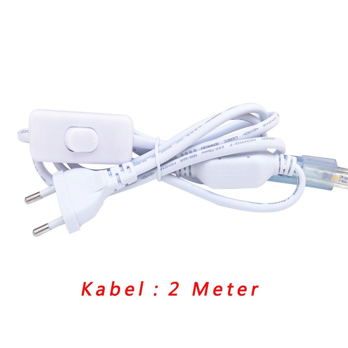 Tiras LED 1M con Interruptor, 220V IP65 Impermeable 5050 SMD ...