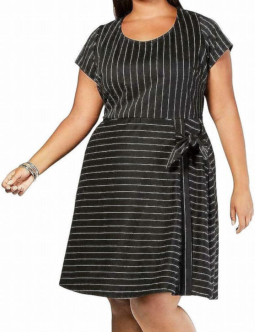 LOVE SQUARED Women's Plus Size Side-tie Striped A-Line Dress