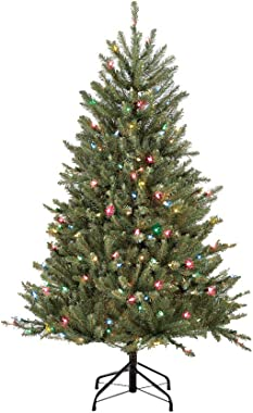 Puleo International 4.5 Foot Pre-Lit Fraser Fir Artificial Christmas Tree with 250 UL-Listed Multi-Color Lights, Green