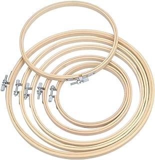 WOWOSS 6 Stück Stickrahmen Rahmen Set Holz Bambus Hoop Ring Stickerei Hoop Einstellbar Nähen Bambus Kreis Set Holz Runde Nähmaschine Stickerei Ring Cross Stitch Hoop
