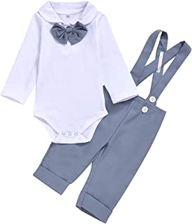 Kanodan Baby Boy Gentleman Outfit Set Birthday Romper with Cardigan 3-24M