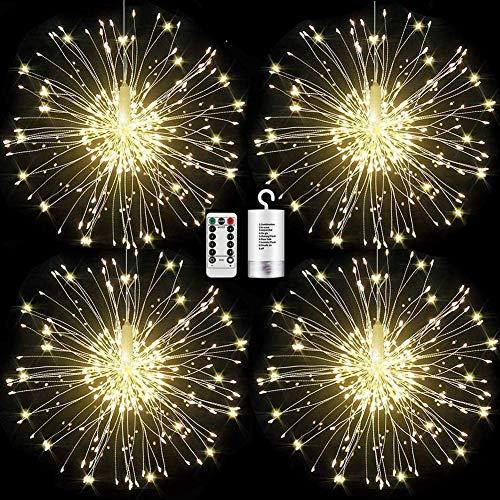 Feuerwerk Lichterketten Starburst Lichter 120 LED Kupferdraht Feuerwerk Lichter Lichterkette mit Fernbedienung 8 Modi der Lumineszenz Wasserdicht für Haus Garten (4 Pack)