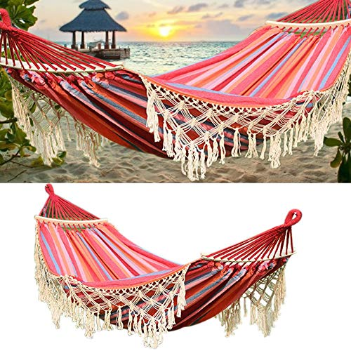 Double Fringe Hammock Extra Long Wide Double Hammock for Camping, Backyard, Conservatory, Carry Pouch Included, 79 x 59 Inches, red
