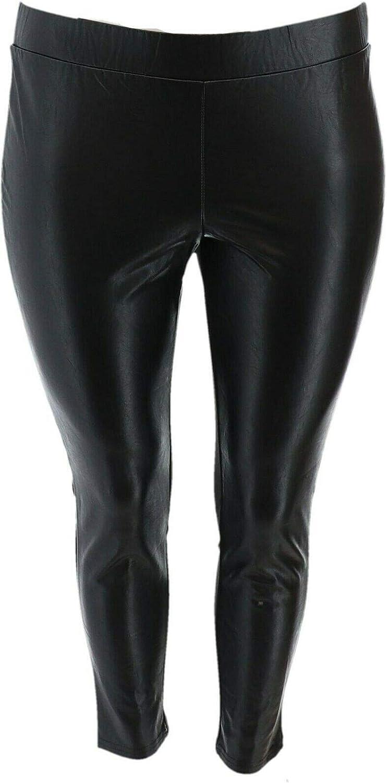 Brooke Shields Petite Faux Leather Ponte Back Leggings Black 28P New A342035