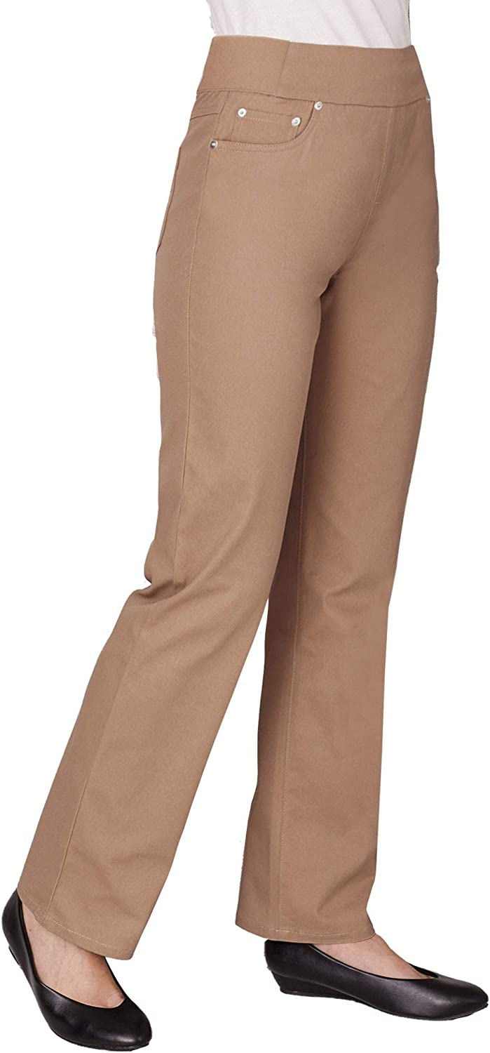 ANTHONY RICHARDS Women's Pull-on Straight Leg Jeans with Elastic Covered Waist Band