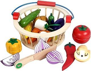 Kacniohen Comida para Jugar Madera 10Pcs de Cocina Frutas Cortar Verduras Conjunto simulado Alimentos Finge los Juguetes para los ni/ños