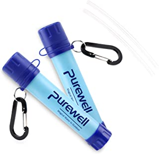 Purewell Outdoor Water Filter Personal Water Filtration Straw Emergency Survival Gear Water Purifier for Camping Hiking Climbing Backpacking(2 Pack) …