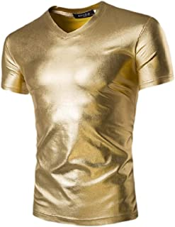 Jmwss QD Men Wet Look Metallic T-Shirts Perform Shirt Slort Sleeve Clubwear Tee