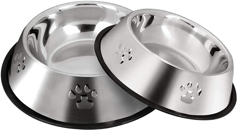 2 Cuencos para Gatos de Acero Inoxidable, Comederos para Cachorros, Pequeños Bebederos para Mascotas con Base de Goma Antideslizante. (XS-15 cm).