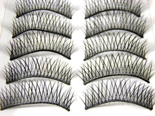 10 paires réutilisable qualité fait main Noir naturel effet épais faux imitation naturel extensions cil cils pour l'usage quotidien, soirée - by fat-catz-copy-catz - #001, Taille Unique