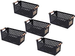 ZYCH Stockage 5pcs Panier de Rangement Plastique,Portable Boîte de Rangement de Bureau,Panier Salle de Bain,pour Cuisine,G...