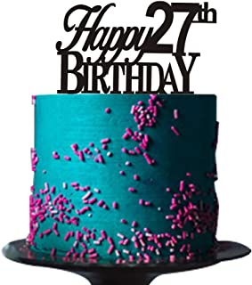 Happy 27th birthday cake topper for 27th birthday cake topper party decorations Black acrylic