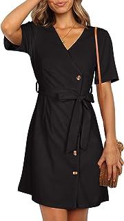 Women's Summer Casual Short Sleeve V Neck Button Side Midi Skater Dress with Belt