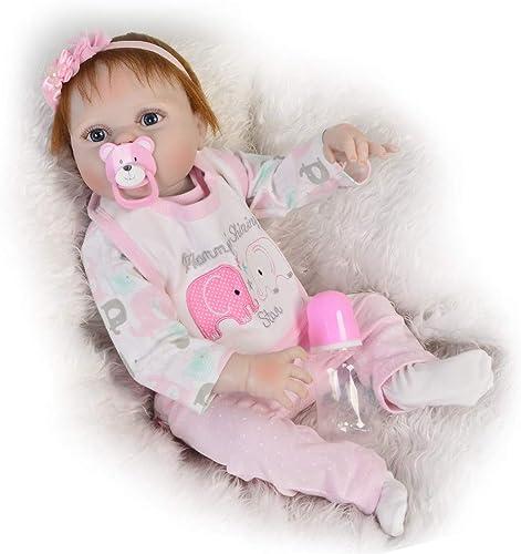 Reborn Dolls 23 '' 57 cm Ganz  Silikon Neugeborene Puppe Lebensechte Baby mädchen Spielzeug Mit Mohair Kinder Geburtstagsgeschenk, Braune Augen