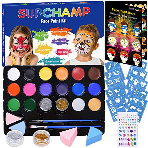 Supchamp Maquillage pour Enfants, Palette de Maquillage Enfants, palette de 16 peintures de couleurs non toxiques avec 60 pochoirs, kit de maquillé sans danger pour enfants pour Halloween, Noël