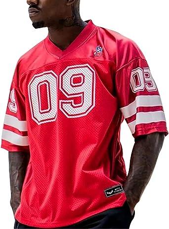 Camiseta Futbol Americano Hombre Fitness Deportiva. Camisa Ancha Gimnasio Entrenamientos (roja Numero)